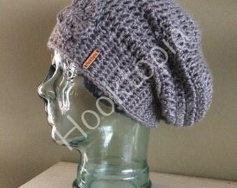 Grey oversized slouchy hat