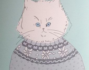 Scandi Cat - Limited Edition Digital Print - A3