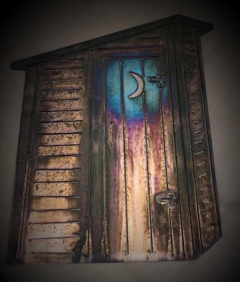 Wall Metal Art For Bathroom : Outhouse country rustic bathroom metal wall art decor
