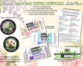 Essential Oil Spa & Body DIGITAL DOWNLOAD Label and Recipe Pack by Nana's Botanical Basics