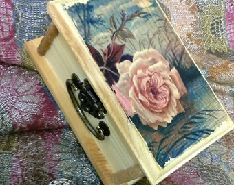 Vintage Rose Wooden Box/Jewelry Box/Keepsake/Wood print transfer