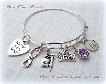 Nurse Gift Ideas, Nurse Charm Bracelet, Gift Ideas for RNs, Nurse Graduation Gift, Personalized Gift, Personalized Jewelry, Nurse Gift