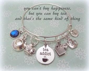 Tea Lover Bracelet, Gift for a Tea Lover, Gift for Book Lover, Tea Drinker Charm Bracelet, Personalized Jewelry Gift, Birthstone Gift