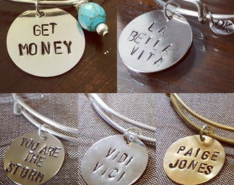 Individual Hand Stamped Disk for Bracelets or Necklaces