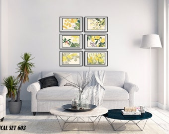 BOTANICAL FRAMED ART - 6 Japanese Wood Block Prints - Matted and Framed  - Free Shipping - Size and Style Options Available - Ready to Hang
