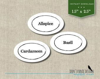 DIY Printable Spice Jar Labels - Simple Zen Oval Spice Jar Labels - Home Organizing - Printable Stickers - Instant Download