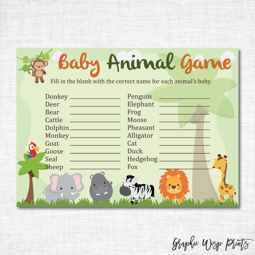 Baby Shower Game Name The Baby Animal: Safari Baby Animal Name Game Printable Baby Shower Baby