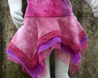 OOAK upcycled fairy pixie skirt pink girls