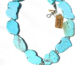 """Stylish Huge Blue Magnesite TURQUOISE Slab FREEFORM HEART 22"""" long Necklace"""