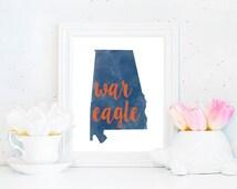 Auburn Tigers War Eagle Watercolor State Printable (8x10 & 5x7)