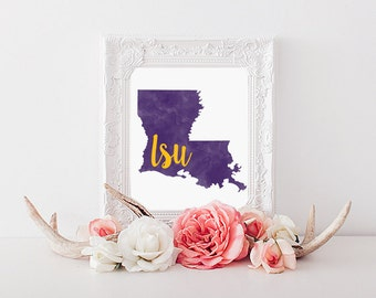 Louisiana State University Tigers Watercolor Gold Leaf Printable (8x10)