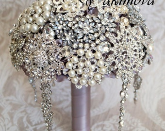 Brooch Bouquet, Diamante Brooch Bouquet ,Bridal Bouquet, Wedding Bouquet, Fabric Bouquet, Unique Wedding Bridal Bouquet, Silver