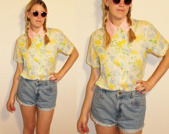 70s Vintage Pastel Oversized Collar Cotton Blouse