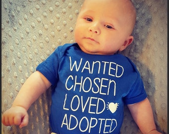 Adoption Outfit or Toddler Tshirt. Adoption Rocks! Chosen Baby. Mirable Baby. Worth The Wait. Adoption Bodysuit. Adoption Baby Gift.
