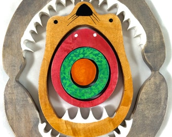 Ocean food chain puzzle, montessori wooden puzzle, waldorf toys