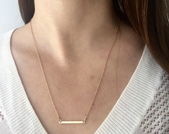 Thin Gold Bar Necklace/ Dainty Bar Necklace/ Gold filled Bar Necklace
