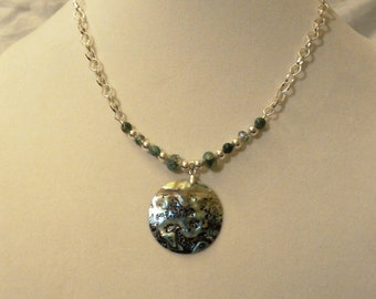 multi-color abalone and mossy agate necklace