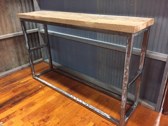 Sofa Console Table Reclaimed Barnwood & Steel