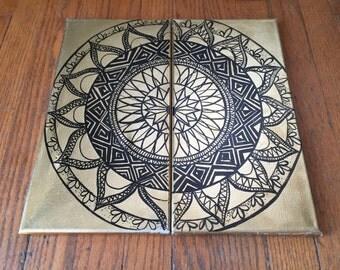 2-piece Gold Mandala