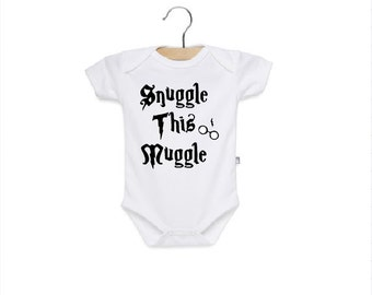 Snuggle this Muggle onesie! Available in sizes NB-24M!