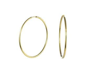 14K yellow gold Endless Hoop Earrings 40 x 1.5mm, gold hoop earrings,  2 inch hoops, hoops, gold hoop, hoops, hoop earring, endless hoops