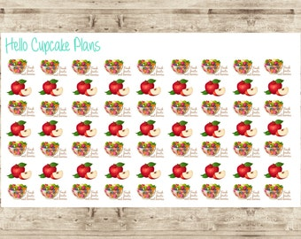 Apple and Fruit Salad Healthy Planner Stickers