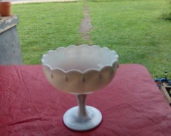 Vintage Pedestal Milk Glass Teardrop Pattern Fruit Bowl