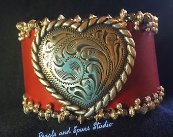 Red leather heart cuff