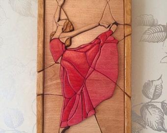 intarsia wood ballerina