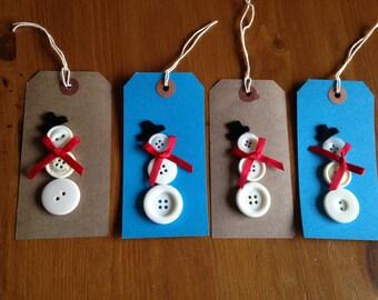 Handmade Button snowman Gift Tags x 4