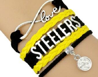NFL Pittsburgh Steelers Football Infinity Leather Bracelet Charm Black Yellow