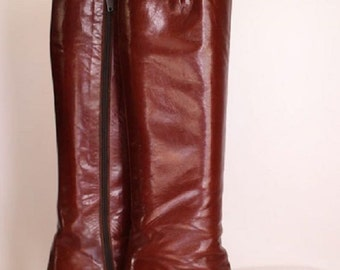 Vintage brown leather boots - 70s/80s