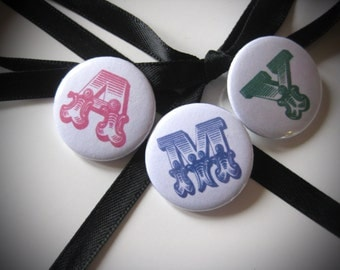 Personalized Badge Initials Any Letter- Pin Buttons