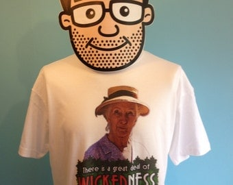 Miss Marple Cult TV T-Shirt (Joan Hickson / Agatha Christie / Wickedness in Village Life) - White Shirt