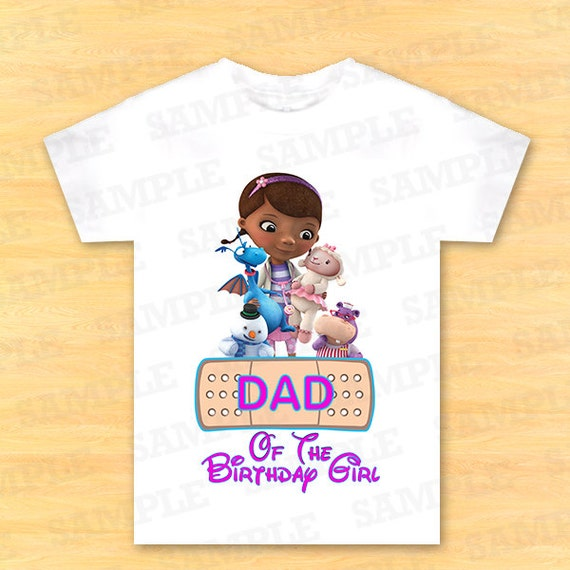 T shirt disney doc mcstuffins iron on doc by partyinstant for Doc mcstuffins birthday girl shirt