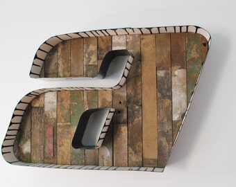 Large a letter with reclaimed wood inset wall hanging/ shelf