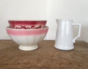Set of 2 vintage French cafe au lait bowls