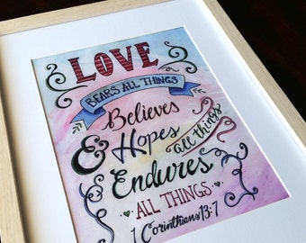 Love Bears All Things Watercolour Print, home decor, inspirational quote, 1 Corinthians 13:7, Bible Quote, scripture, marriage quote, gift