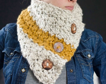 The Windsor | Chunky Cowl. Chunky Cowl with Buttons. Cowl. Chunky Scarf. Crochet Scarf. Scarf with buttons. Crochet Cowl. Cowl Scarf.