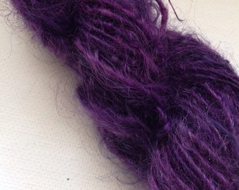 Royal Urchin glossy purple 100% Mohair locks worsted spun 70 yards