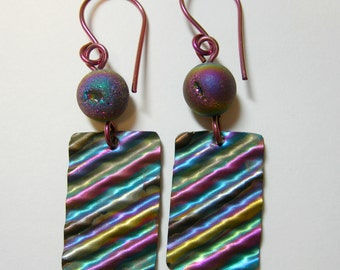 Rainbow Ripples Niobium earrings, with druzy agates and hypoallergenic niobium earwires