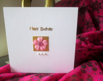 Birthday card - handmade birthday card -  greetings cards - flowers birthday card -  Uk cards - Online cards -  cars for her .