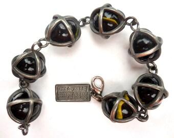 Pewter-Aggie Marble Vintage Bracelet by Designer St. Lavelle