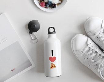 I Love Pizza Emoji Heart Aluminium Bottle, Water Bottle, Emoji Heart, Emoji Pizza, Foodie Gift,  Satiric Gift, Funny Gift, AB012