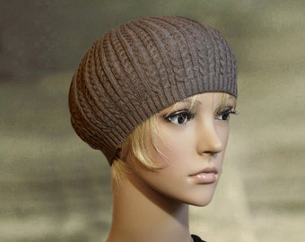 Brown beret tam, Womens knit beret, Knitted beanie tam, Knit spring hat, Knit thin cap hat, light knitted beret, Tam beanie hat t