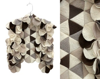 Felted Wool Vest, Beige wool vest, Merino Wool Vest, Beige Waistcoat