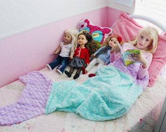 Minky & Satin Mermaid Tail Blanket - Kids Mermaid Tail - Teen/Adult Mermaid Tail - Mermaid Fin Blanket - Mermaid Wrap