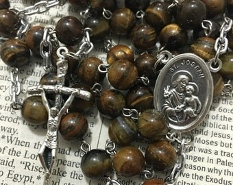 Saint Joseph tigereye rosary with Papal crucifix
