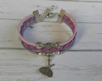 Girls Tennis Bracelet// Friendship Bracelet// Team Colors// Tennis Mom// Tennis Coach// Tennis Gift// Choose  Colors & Sports Charm