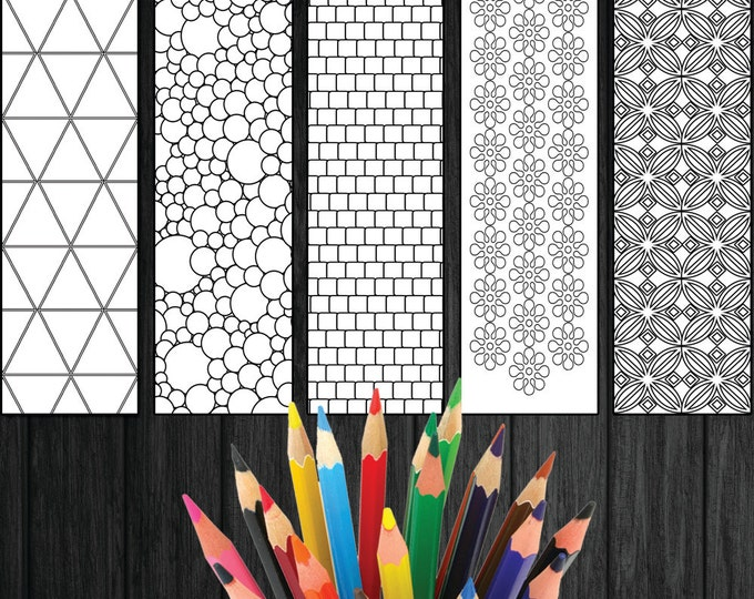 Bookmarks To Colour, Geometric Bookmarks, Colouring Bookmarks, Five Bookmarks, Gift For Bookworms, Book Lover Gift Download, Gift For Reader